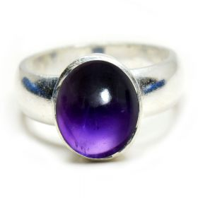 Natural Cabochon Amethyst Sterling Silver Ring -2.25 Ratti to 10.25 Ratti For Men  Women