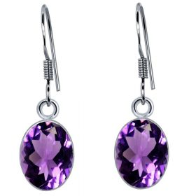 Choose Your Color Natural Gemstone Earrings in Sterling Silver Women & Girls Drop Style Pair