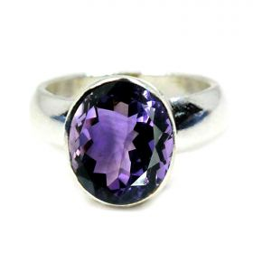 Natural Amethyst Sterling Silver Ring - 2.25 Ratti to 10.25 Ratti for Men Women